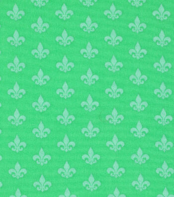 Mardi Gras Cotton Fabric-Fleur De Lis Green