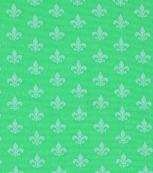Mardi Gras Cotton Fabric-Fleur De Lis Green
