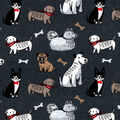 Snuggle Flannel Fabric-Little Pups on Gray
