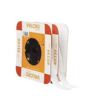 VELCRO Brand Home Decor 1in Tape, White, Flange