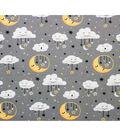 Nursery Flannel Fabric 42\u0027\u0027-Moon & Clouds on Gray
