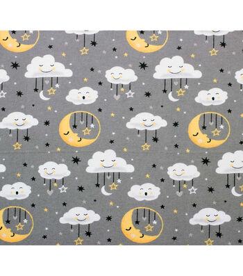 Nursery Flannel Fabric 42''-Moon & Clouds on Gray