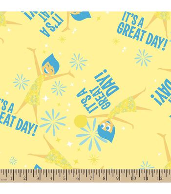 "Disney PIXAR Inside Out Print Fabric-Joy ""It's A Great Day"""