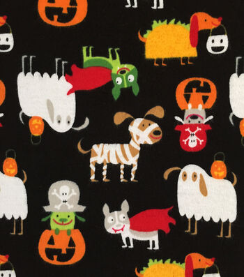 "Doodles Halloween Interlock Cotton Fabric 57""-Dressed Up Dogs"