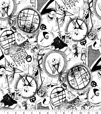 "Nightmare Before Christmas Halloween Knit Fabric 58""-Tossed World"