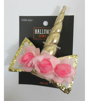 hildie & jo Halloween Jewelry Unicorn Horn Hair Clip with Pink Flowers