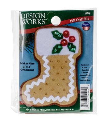 Design Works 3''x4'' Gingerbread Stocking Ornament Felt Craft Kit