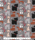 Snuggle Flannel Fabric -Mutliple Dogs on Gray