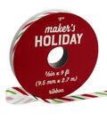 Maker\u0027s Holiday Ribbon 3/8\u0027\u0027x9\u0027-Red, White & Green Candy Stripes