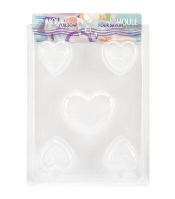 """Soap Mold 7.75""""X10.25""""-5 Cavity - Hearts"""