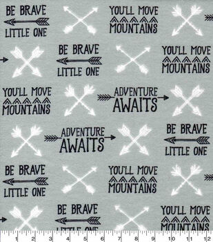 Nursery Flannel Fabric-Boone Arrows And Words
