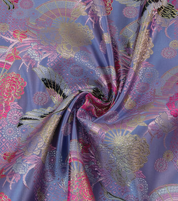 Yaya Han Cosplay Brocade Fabric 58''-Light Blue & Pink Kyoto Garden