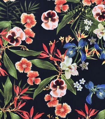 Sportswear Stretch Twill Fabric-Tropical Flowers on Black