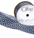 Offray 1.5\u0022x9\u0027 Delft Tiles Abstract Single Faced Satin Wired Edge Ribbon-Navy