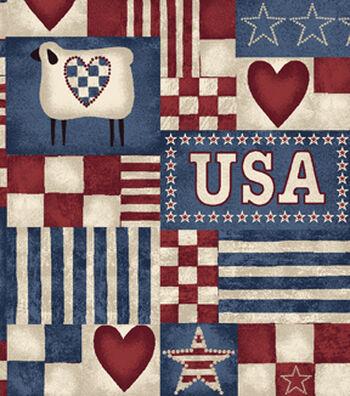 No Sew Throw Fleece Fabric-Country Patriotic Patch