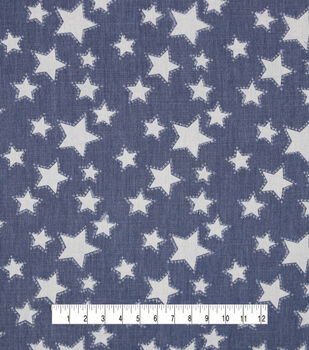 Medium Wash Star Print Punch Cotton Denim Fabric
