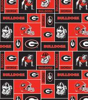 University of Georgia Bulldogs Fleece Fabric 58''-Block, , hi-res
