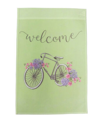 Hello Spring Gardening 12''x18'' Fabric Flag-Welcome & Bicycle