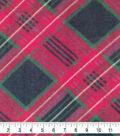 Anti-Pill Plush Fabric-Sean Black, Red & Green Plaid