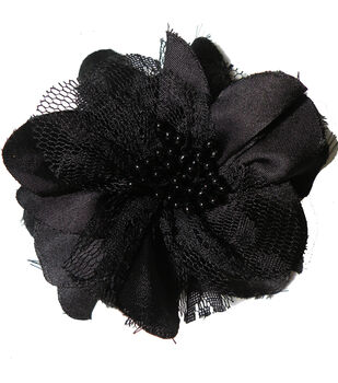 Satin Lace Flower Pin  Black