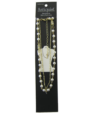 hildie & jo Antiquist 30'' Dual Chain Gold Necklace-Pearl & Bead