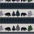 Snuggle Flannel Fabric -Black Bear & Black Watch Stripes