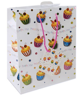 """10-1/2""""x5-3/8""""x13"""" Foil Gift Bags-Birthday Cupcakes"""