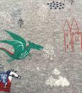 Doodles Juvenile Interlock Knit Fabric 57\u0027\u0027-Dragon on Heather Gray