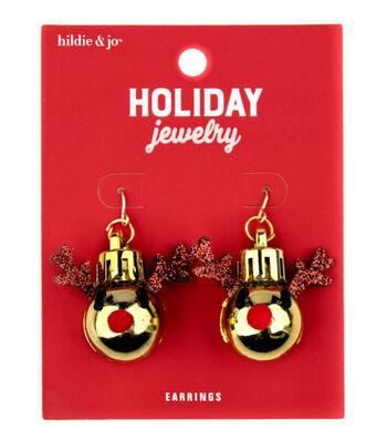 hildie & jo Christmas Holiday Jewelry Gold Reindeer Earrings