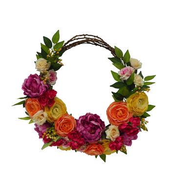 Fresh Picked Spring 24'' Peony & Grapevine Wreath-Multicolored