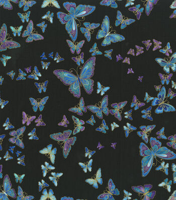 Premium Cotton Fabric-Floating Butterly on Black