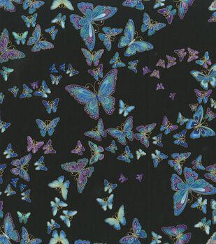 Premium Cotton Fabric-Floating Butterflies on Black