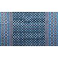 Americana Summer Crinkle Rayon Fabric-Turquoise Geo Medallion Border