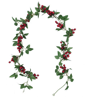 Blooming Holiday Christmas 3''x66'' Large Red Berry & Leaf Garland