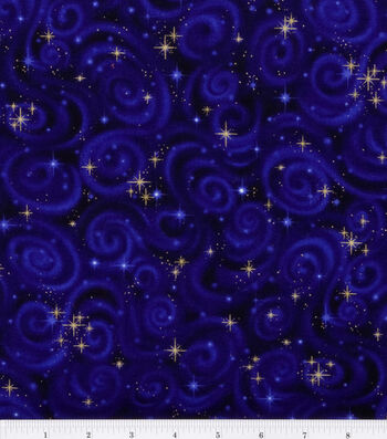 Premium Cotton Fabric 44''-Stars on Violet