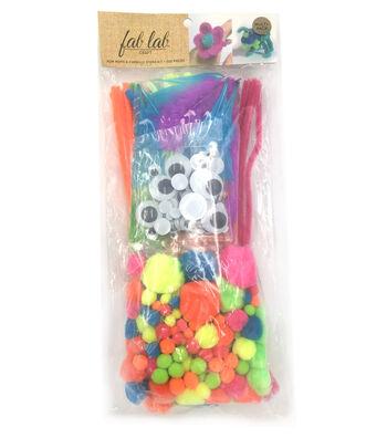 Pom Pom & Chenille Kit 300 Pieces-Neon