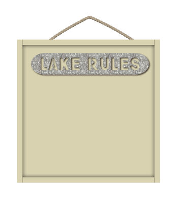 Camp Ann Crafts Galvanized & Wood Lake Rules Sign