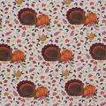 Harvest Cotton Fabric-Turkeys & Pumpkins