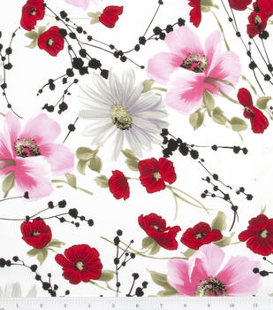 Simply Silky Prints Peach Skin Fabric -Cosmos & Poppy Spray