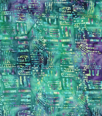 Textured Cotton Batik Apparel Fabric-Navy & Green Dots & Dashes
