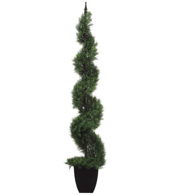 Bloom Room Luxe 48'' Plastic Spiral Cedar Topiary-Green