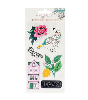 Maggie Holmes Embossed Puffy Stickers-Flourish
