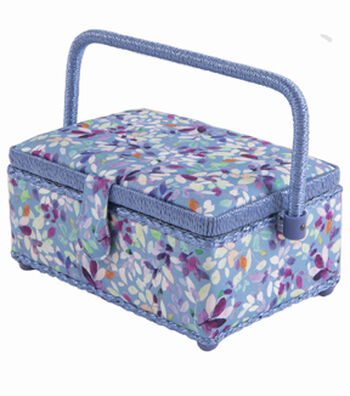 Sewing Basket Small Rectangle-Blue Floral