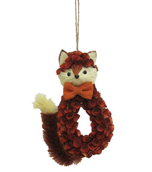 Blooming Autumn Small Wood Curl Fox Wreath