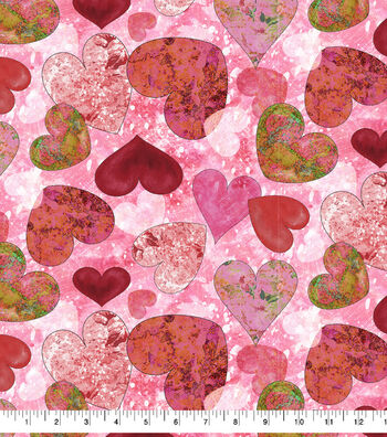 Valentine's Day Cotton Fabric-Textured Hearts Allover
