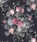 Vintage Cotton Fabric 43\u0022-Large Floral Bouquet Navy