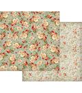 Stamperia 12\u0027\u0027x12\u0027\u0027 Double-Sided Cardstock-Floral Wallpaper on Turquoise