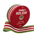 Maker\u0027s Holiday Ribbon 1.5\u0027\u0027x30\u0027-Red & White Stripes with Green Edge