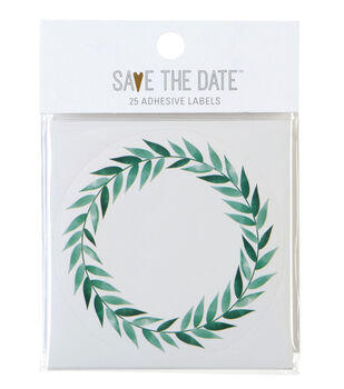 Save the Date 25ct Round Lablels-Greenery