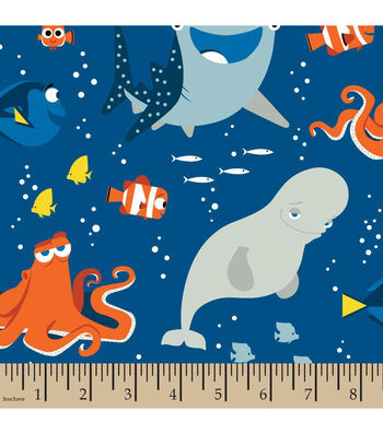 """Disney Finding Dory Cotton Fabric 43""""-Friends"""